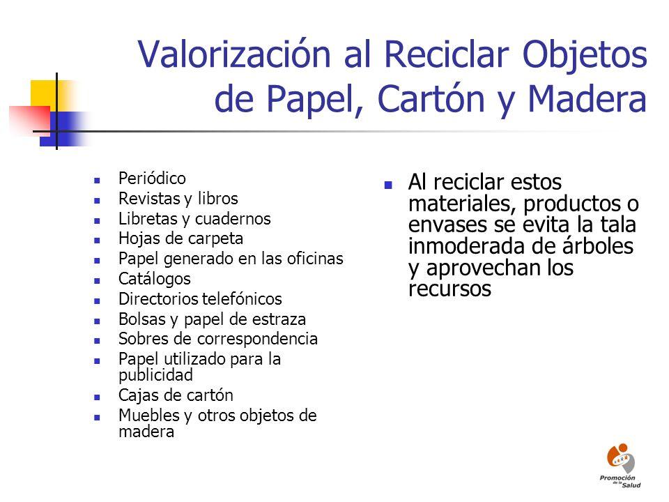 Valorización al Reciclar Objetos de Papel, Cartón y Madera