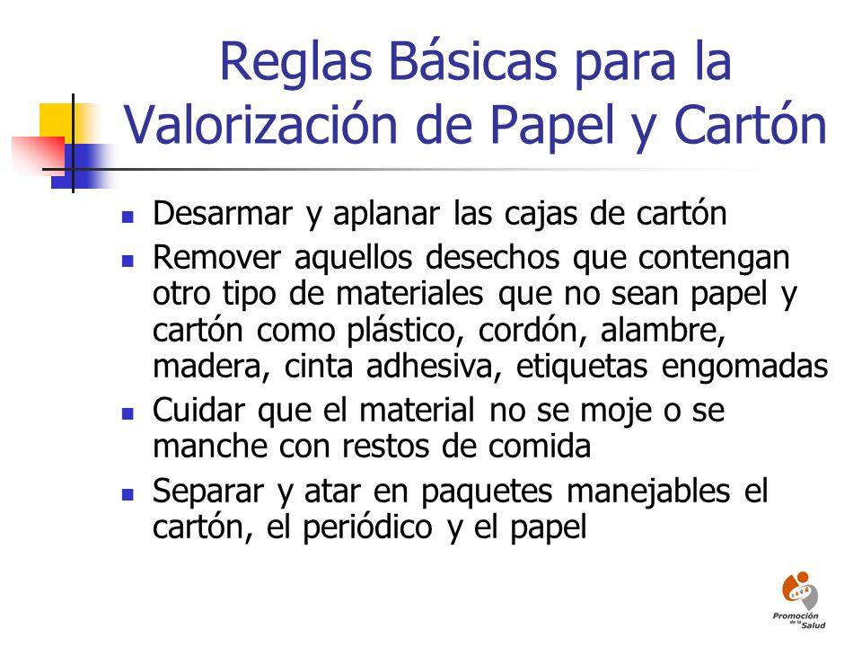 Reglas Básicas para la Valorización de Papel y Cartón
