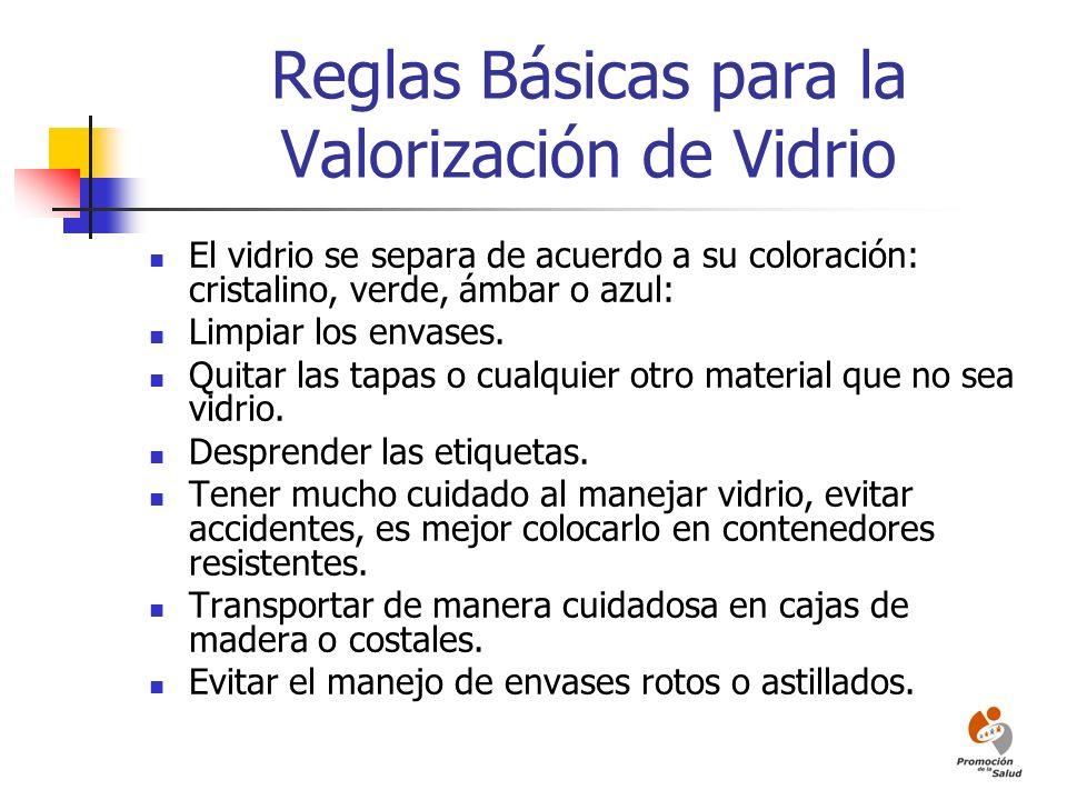 Reglas Básicas para la Valorización de Vidrio