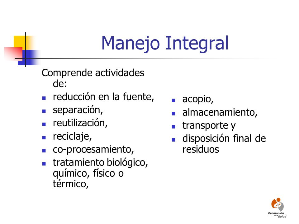 Manejo Integral Comprende actividades de: reducción en la fuente,