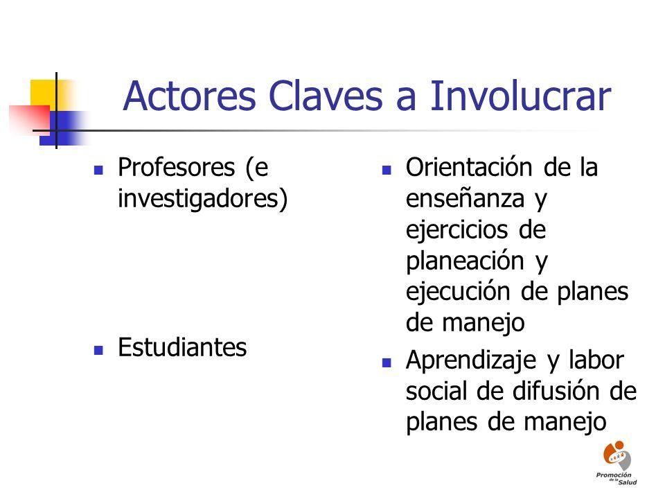 Actores Claves a Involucrar