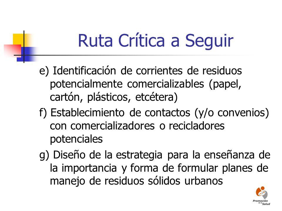 Ruta Crítica a Seguir e) Identificación de corrientes de residuos potencialmente comercializables (papel, cartón, plásticos, etcétera)