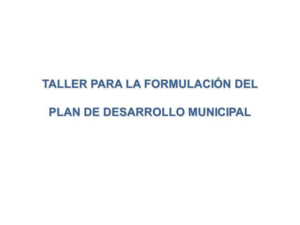 TALLER PARA LA FORMULACIÓN DEL PLAN DE DESARROLLO MUNICIPAL