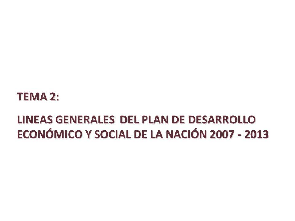 TEMA 2: LINEAS GENERALES DEL PLAN DE DESARROLLO ECONÓMICO Y SOCIAL DE LA NACIÓN 2007 - 2013