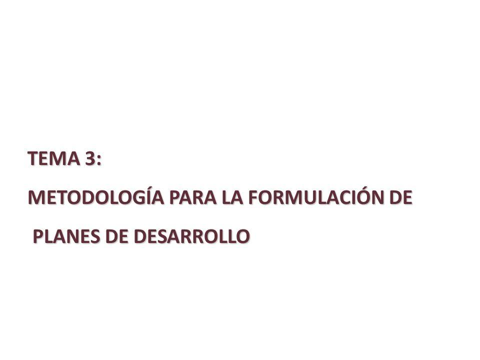 TEMA 3: METODOLOGÍA PARA LA FORMULACIÓN DE PLANES DE DESARROLLO
