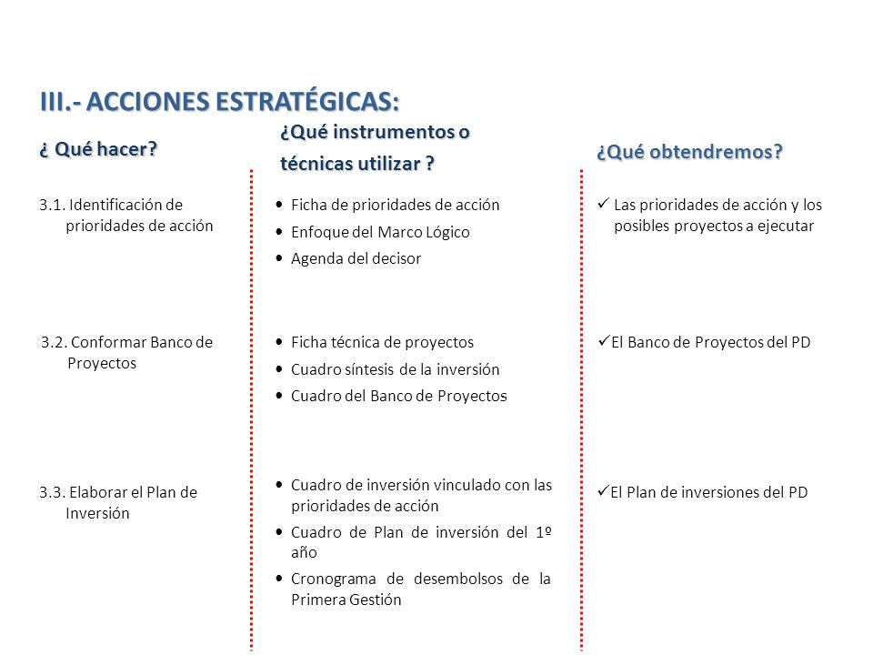 III.- ACCIONES ESTRATÉGICAS: