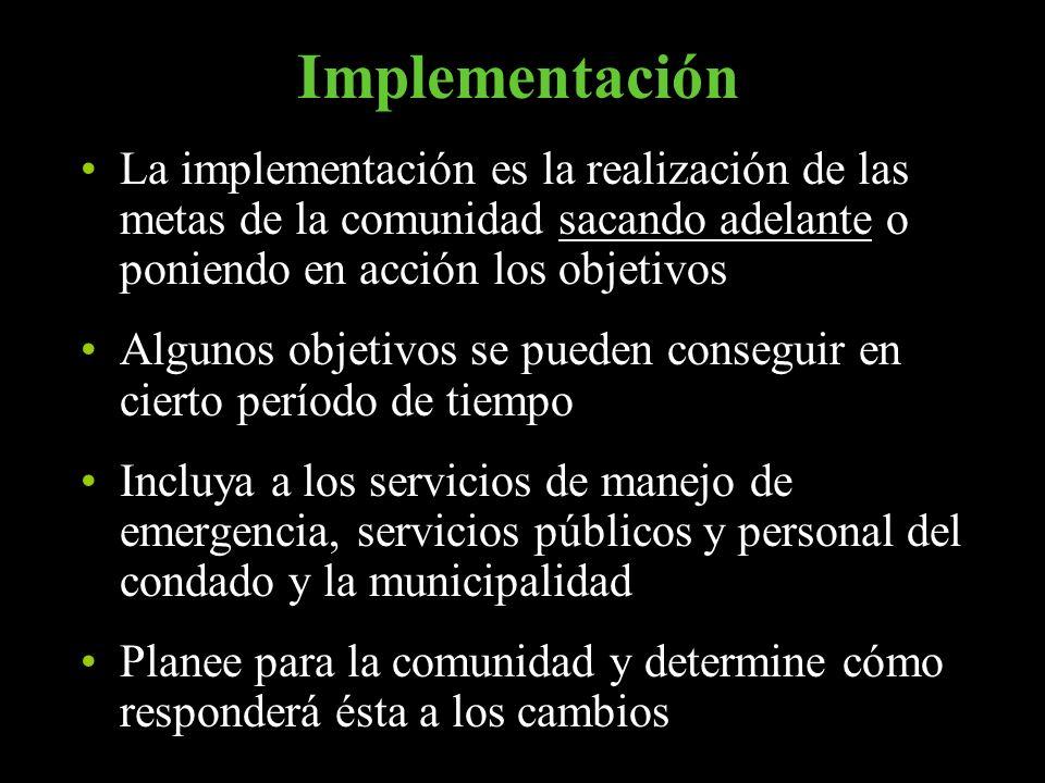 Implementación La implementación es la realización de las metas de la comunidad sacando adelante o poniendo en acción los objetivos.