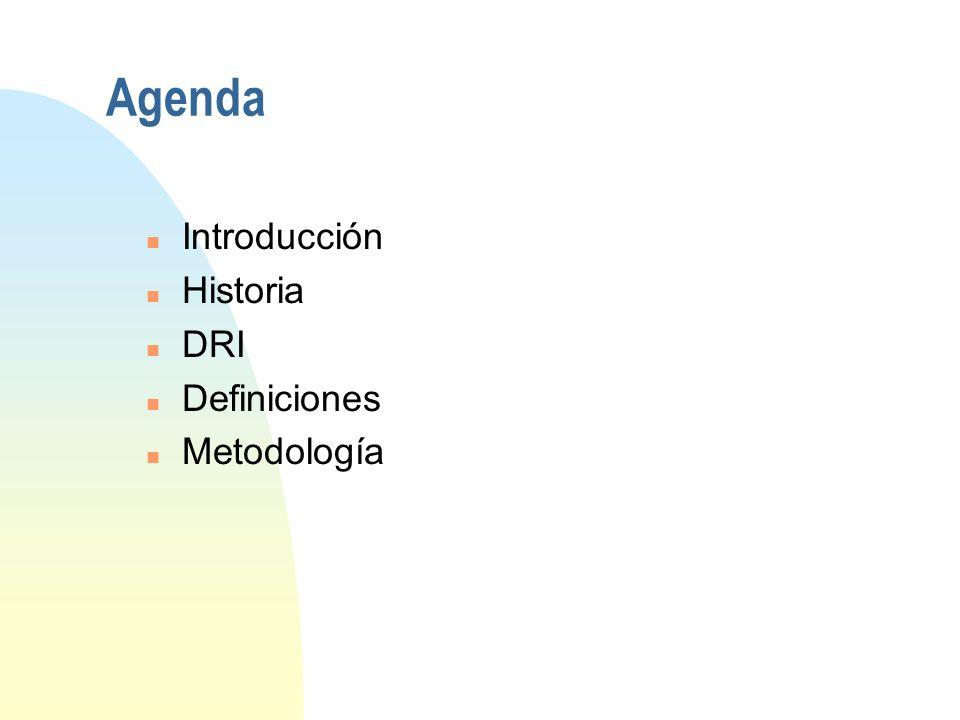 3/29/2017 Agenda Introducción Historia DRI Definiciones Metodología