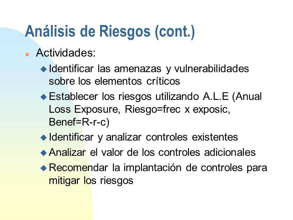 Análisis de Riesgos (cont.)