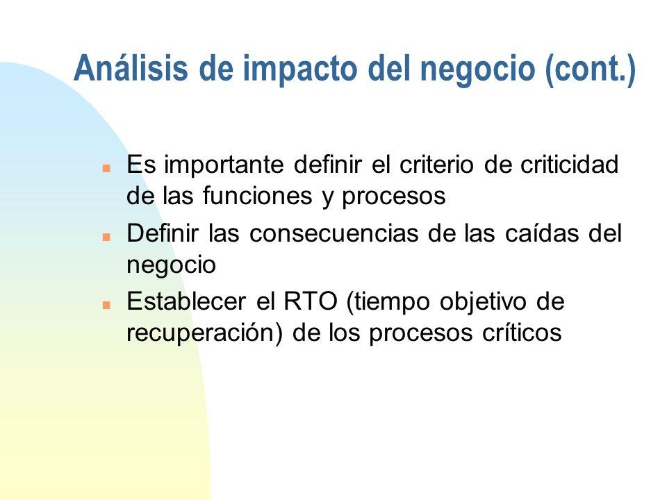 Análisis de impacto del negocio (cont.)