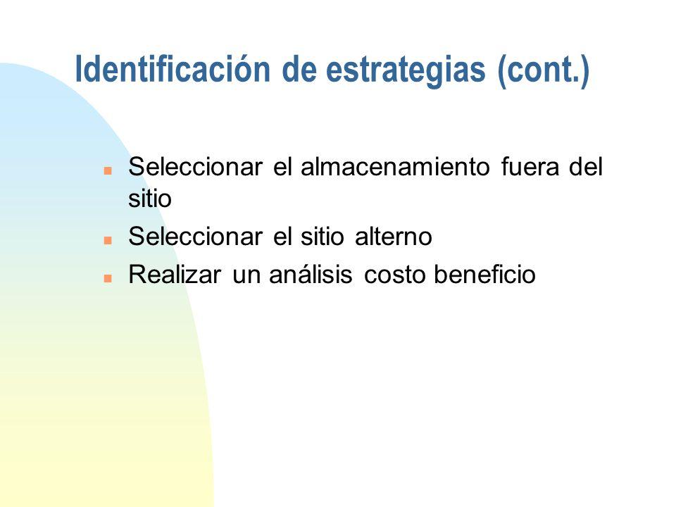 Identificación de estrategias (cont.)