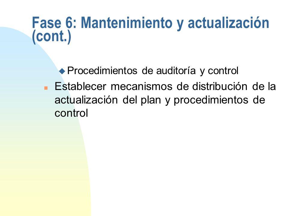 Fase 6: Mantenimiento y actualización (cont.)