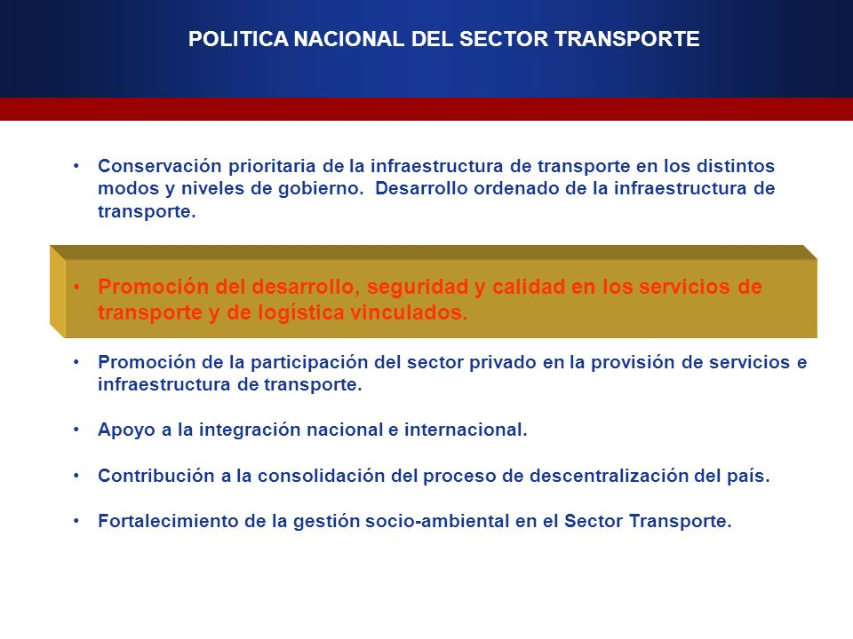 POLITICA NACIONAL DEL SECTOR TRANSPORTE