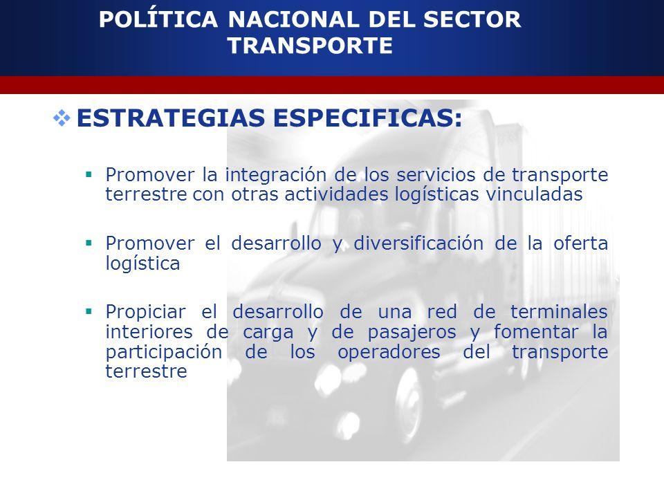 POLÍTICA NACIONAL DEL SECTOR TRANSPORTE