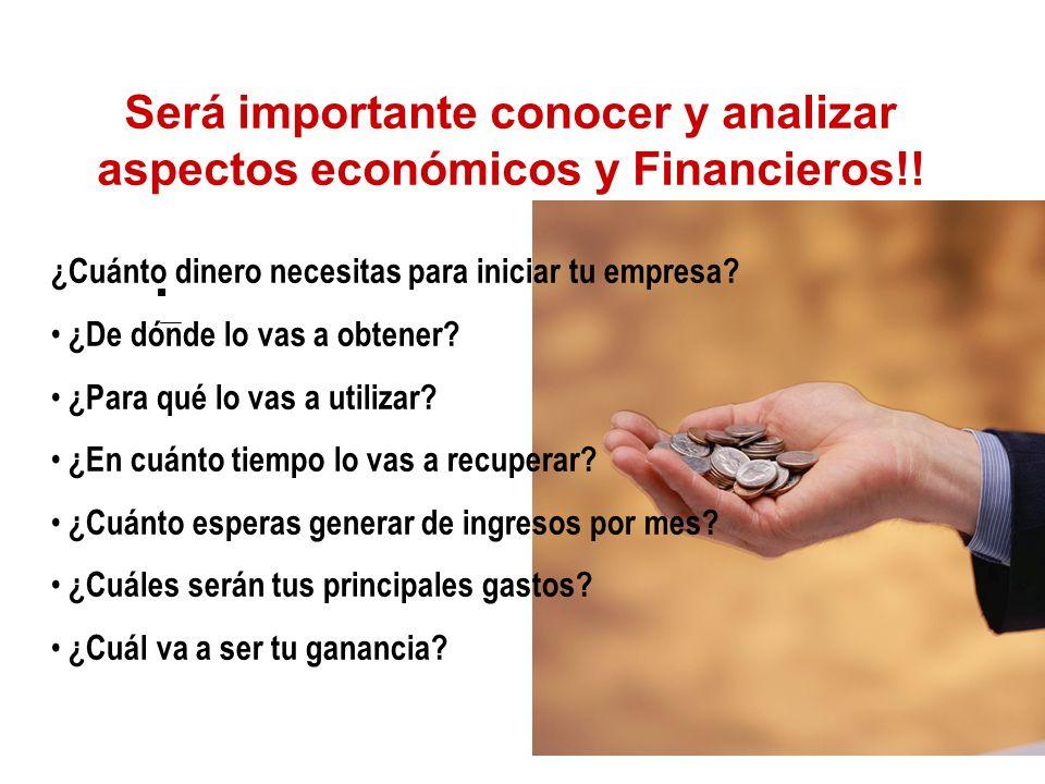 Será importante conocer y analizar aspectos económicos y Financieros!!