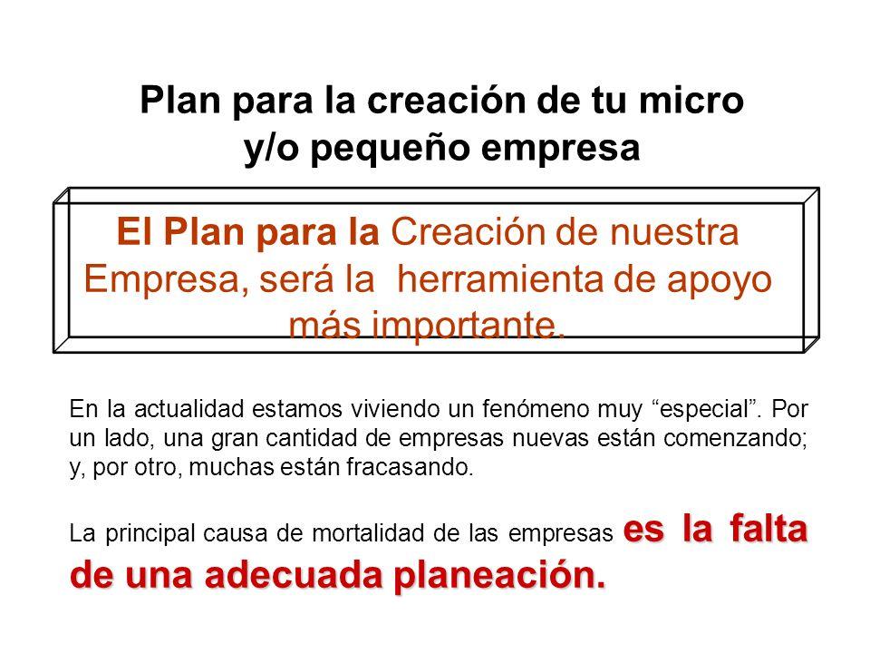 Plan para la creación de tu micro y/o pequeño empresa