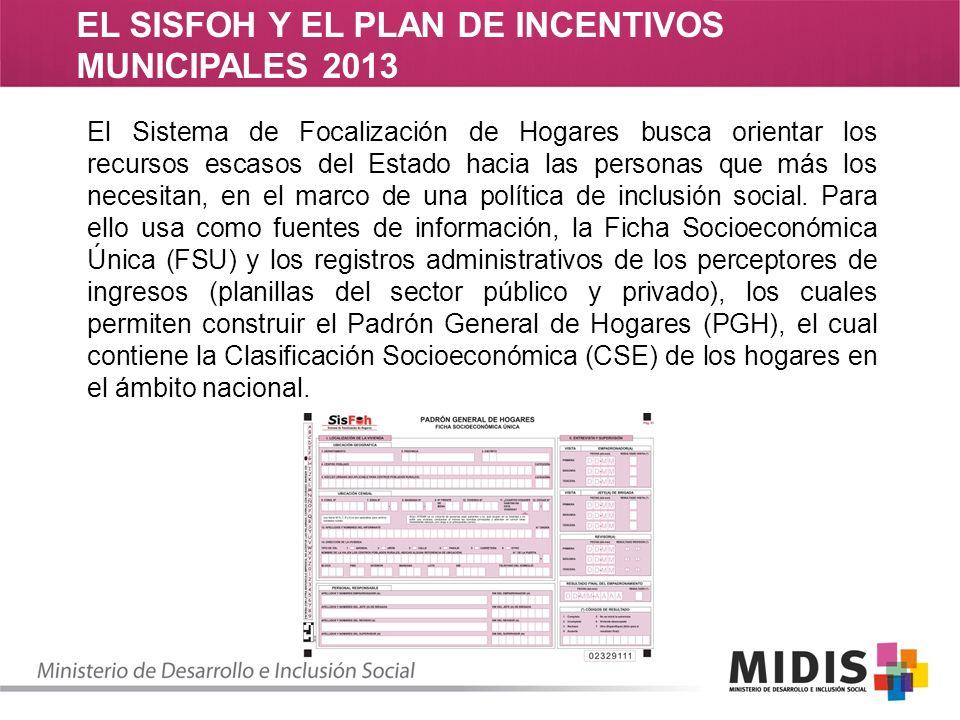 EL SISFOH Y EL PLAN DE INCENTIVOS MUNICIPALES 2013