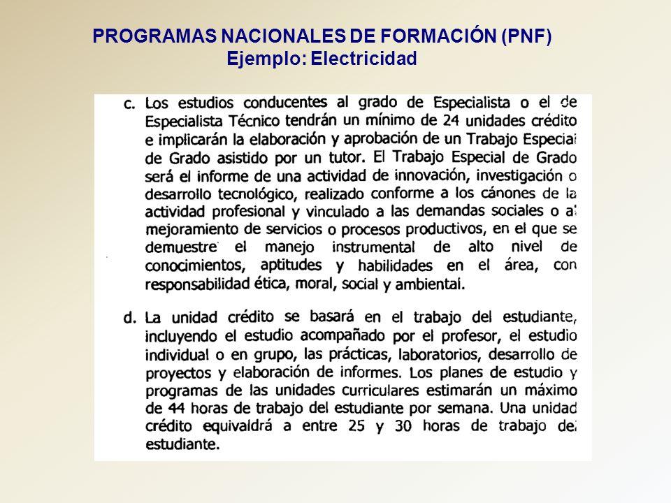 PROGRAMAS NACIONALES DE FORMACIÓN (PNF) Ejemplo: Electricidad