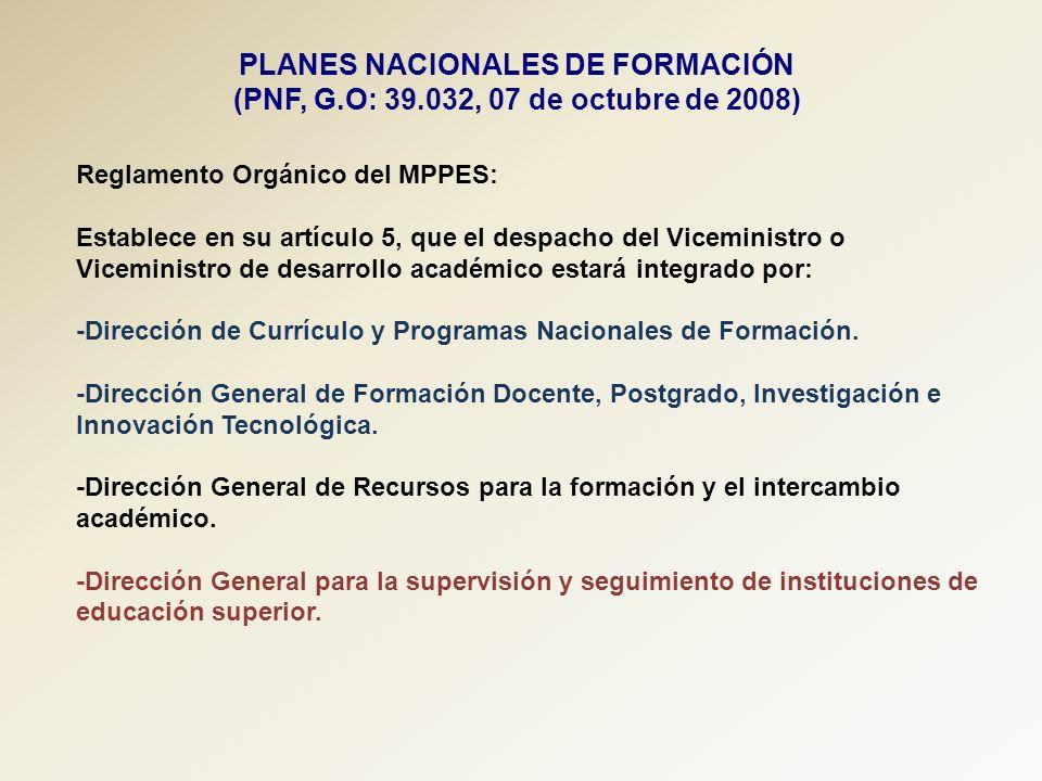 PLANES NACIONALES DE FORMACIÓN