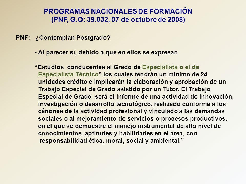 PROGRAMAS NACIONALES DE FORMACIÓN