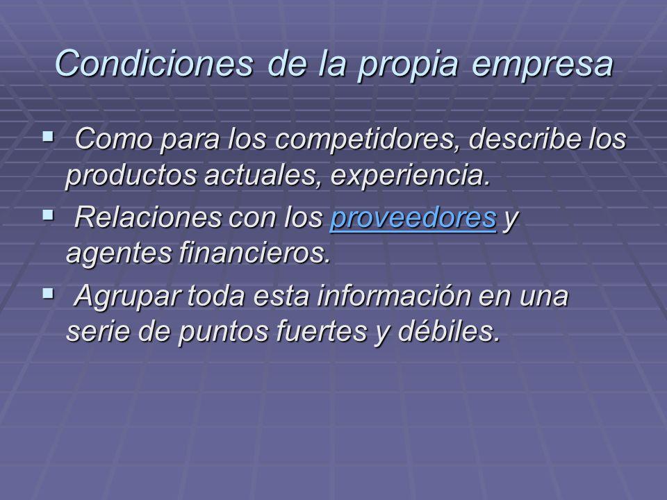 Condiciones de la propia empresa