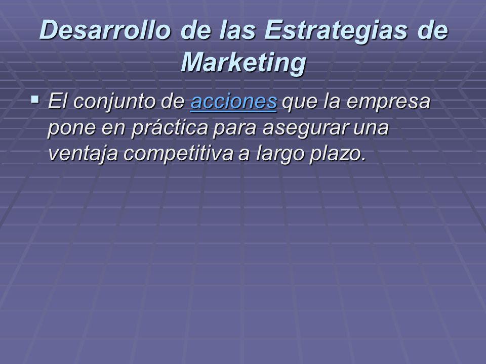Desarrollo de las Estrategias de Marketing