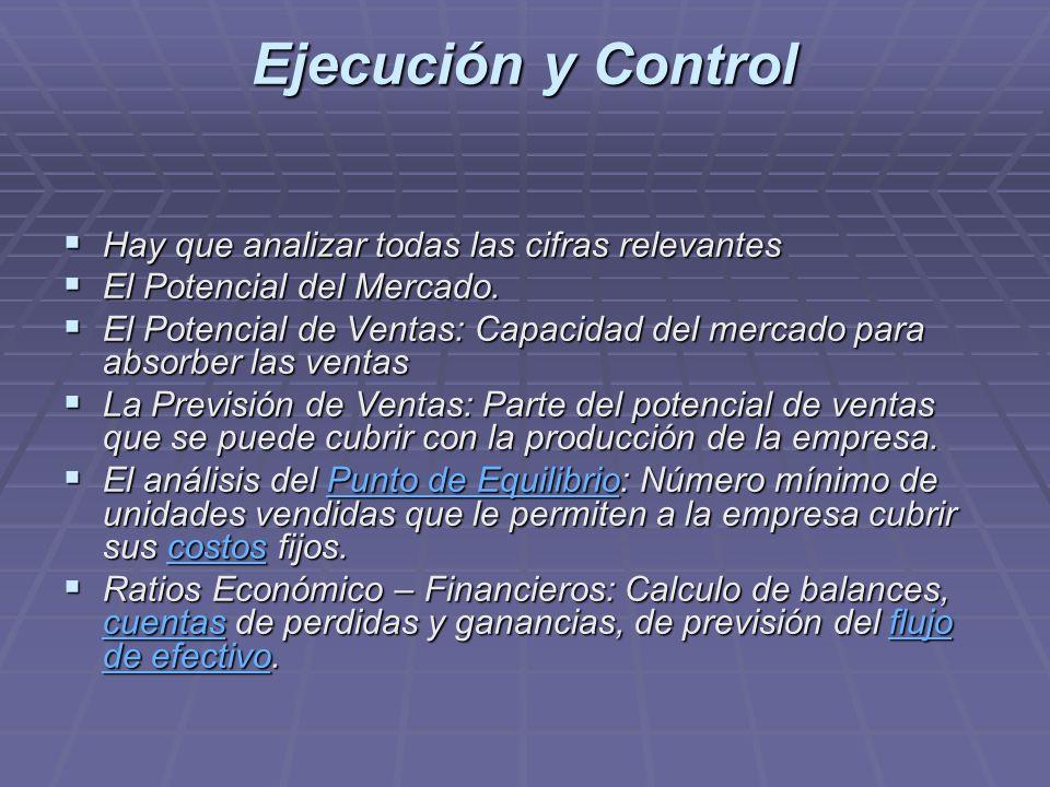 Ejecución y Control Hay que analizar todas las cifras relevantes