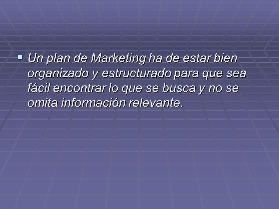 Un plan de Marketing ha de estar bien organizado y estructurado para que sea fácil encontrar lo que se busca y no se omita información relevante.