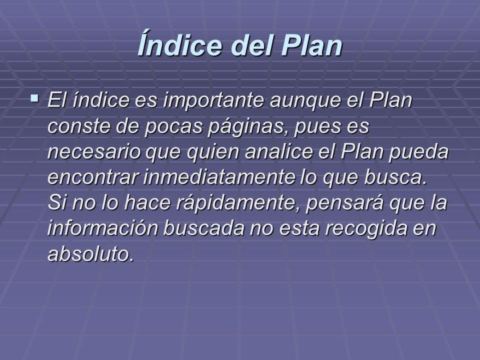 Índice del Plan