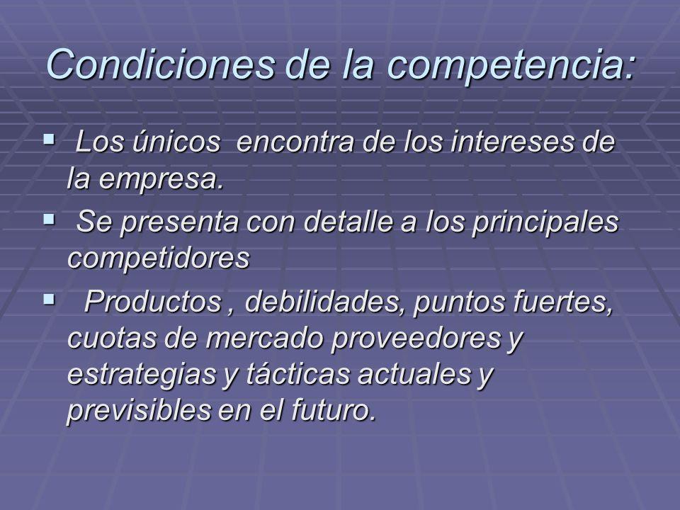 Condiciones de la competencia: