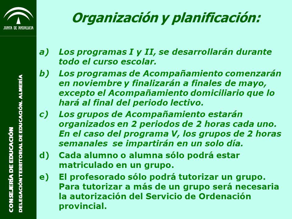 Organización y planificación: