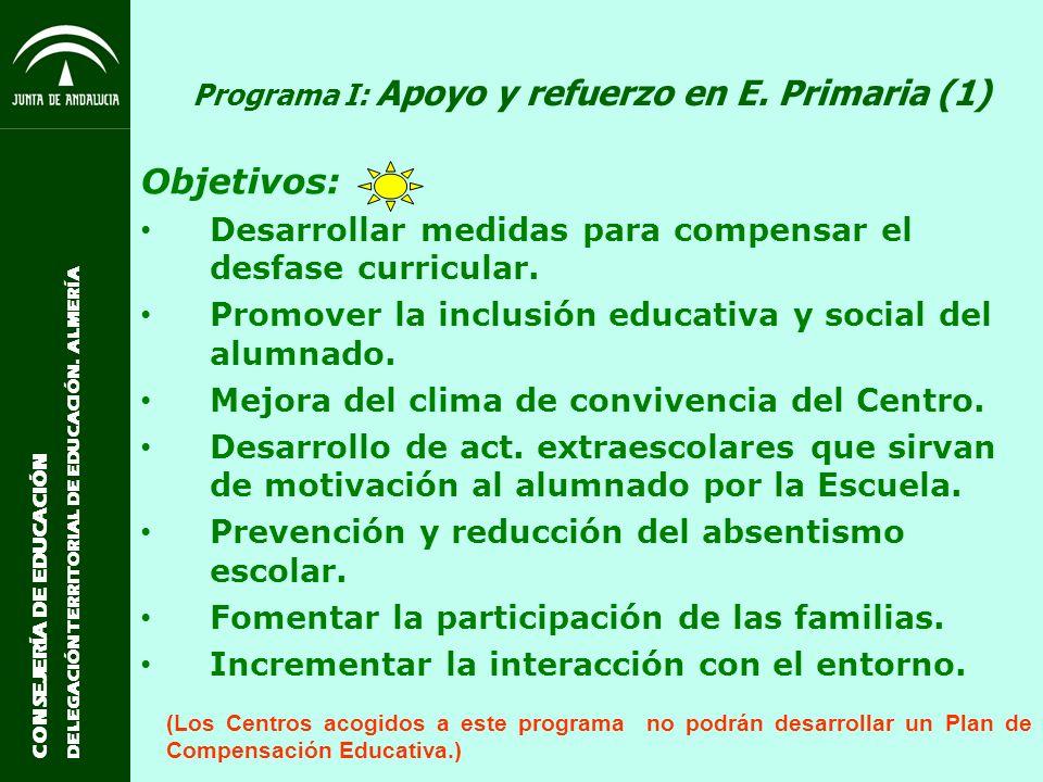 Programa I: Apoyo y refuerzo en E. Primaria (1)