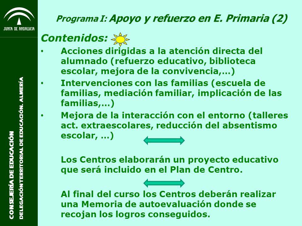 Programa I: Apoyo y refuerzo en E. Primaria (2)