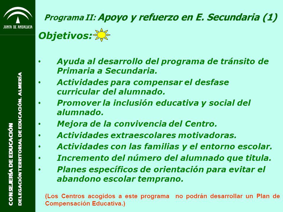 Programa II: Apoyo y refuerzo en E. Secundaria (1)