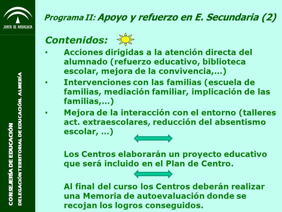 Programa II: Apoyo y refuerzo en E. Secundaria (2)