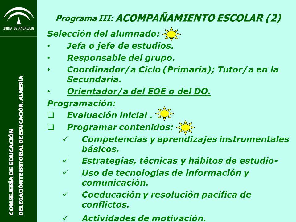 Programa III: ACOMPAÑAMIENTO ESCOLAR (2)