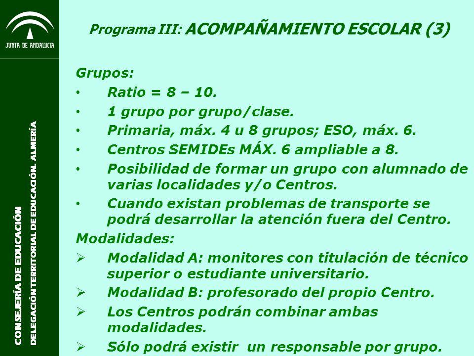 Programa III: ACOMPAÑAMIENTO ESCOLAR (3)