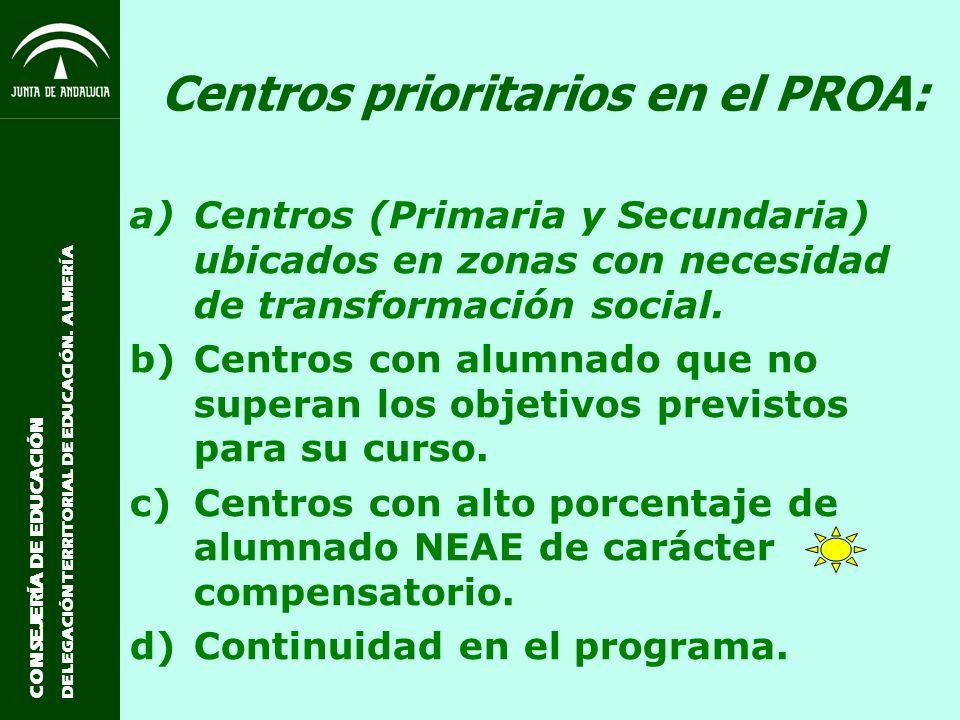 Centros prioritarios en el PROA:
