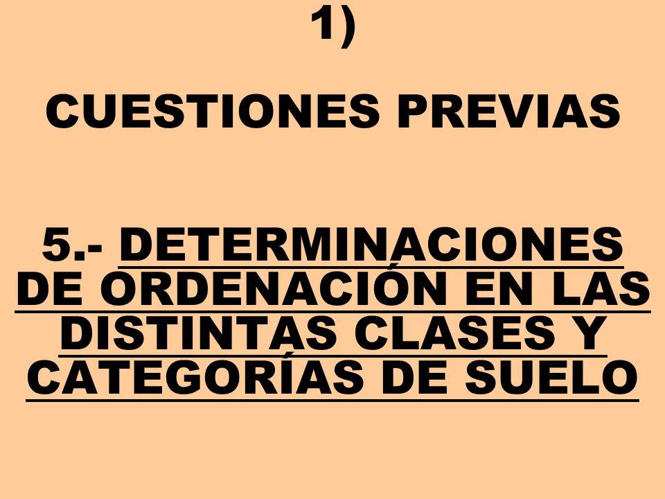 1) CUESTIONES PREVIAS 5.- DETERMINACIONES DE ORDENACIÓN EN LAS DISTINTAS CLASES Y CATEGORÍAS DE SUELO