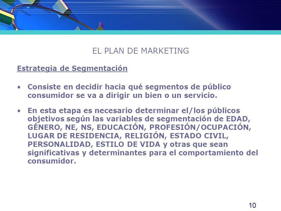 EL PLAN DE MARKETING Estrategia de Segmentación