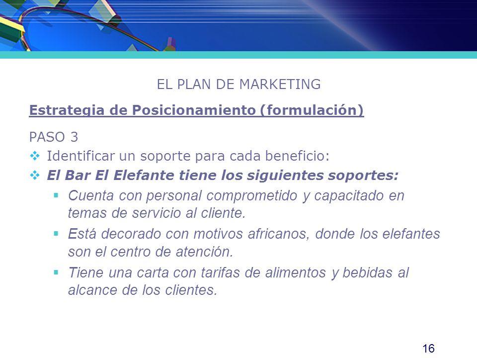 EL PLAN DE MARKETING Estrategia de Posicionamiento (formulación) PASO 3. Identificar un soporte para cada beneficio: