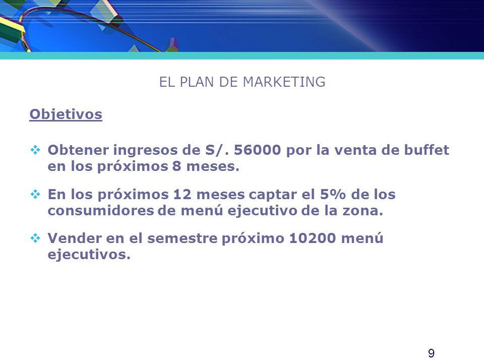 EL PLAN DE MARKETING Objetivos. Obtener ingresos de S/. 56000 por la venta de buffet en los próximos 8 meses.