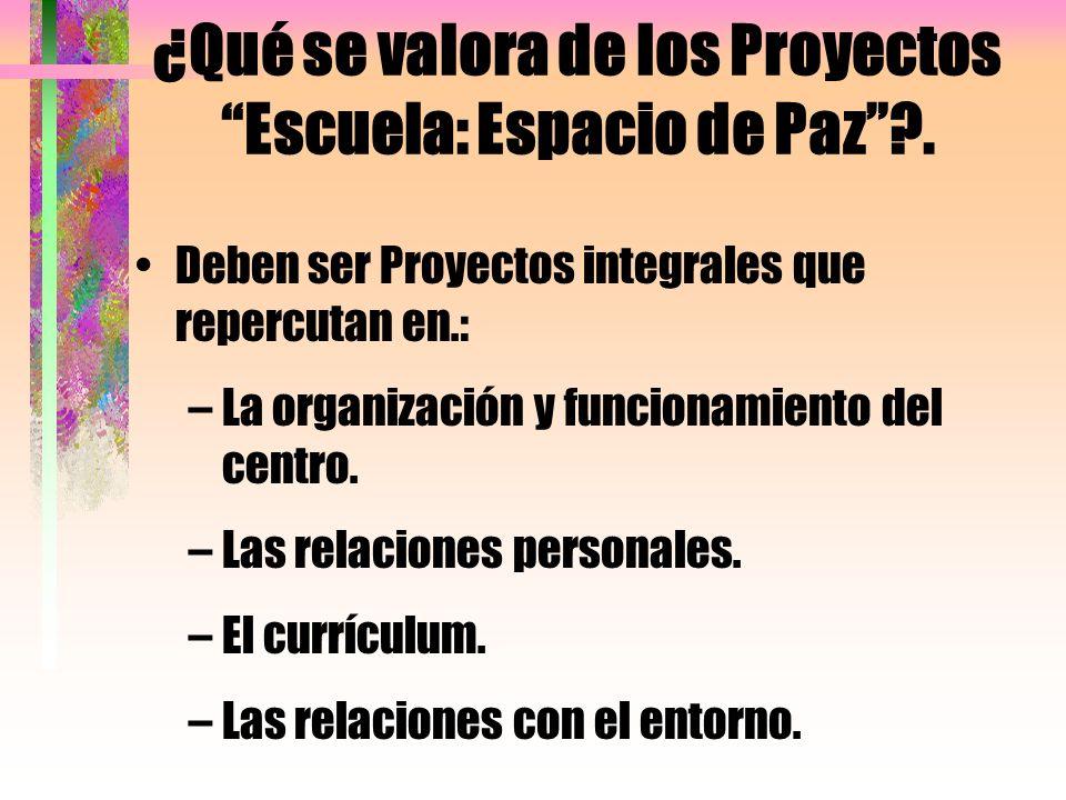 ¿Qué se valora de los Proyectos Escuela: Espacio de Paz .