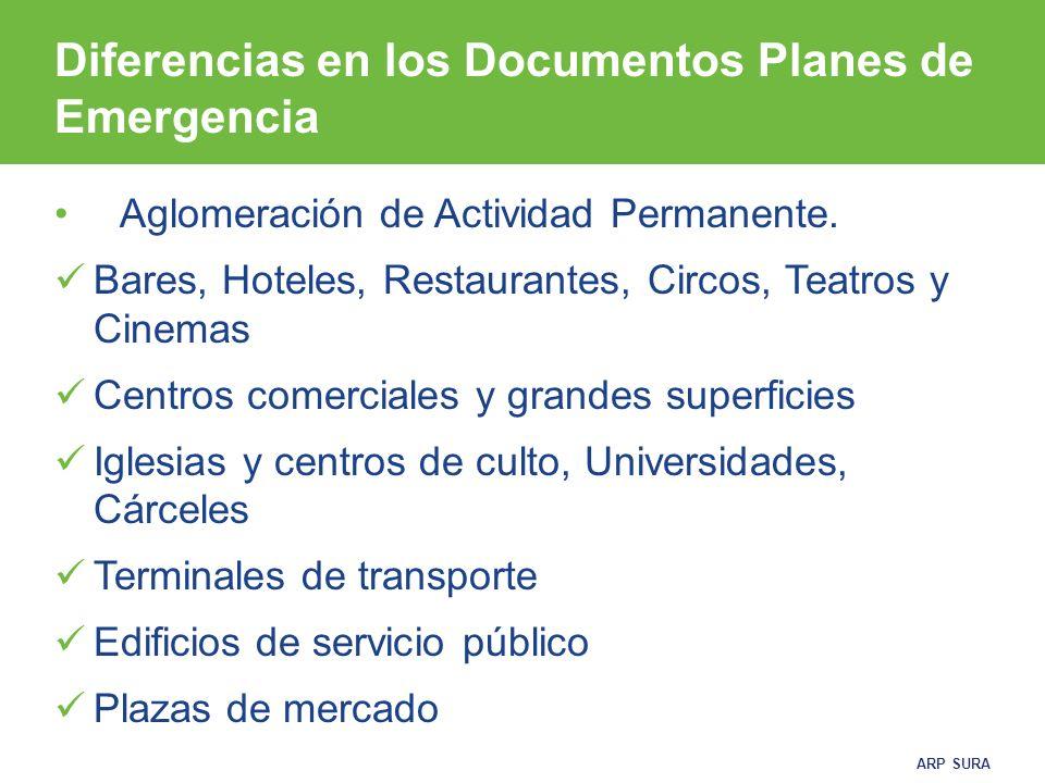Diferencias en los Documentos Planes de Emergencia