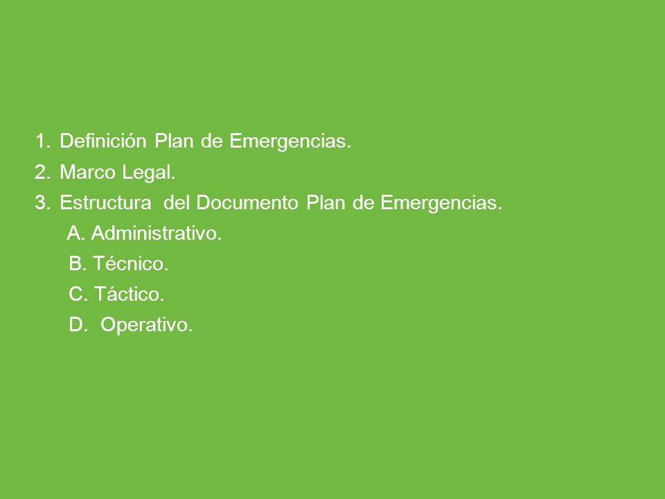 Definición Plan de Emergencias.