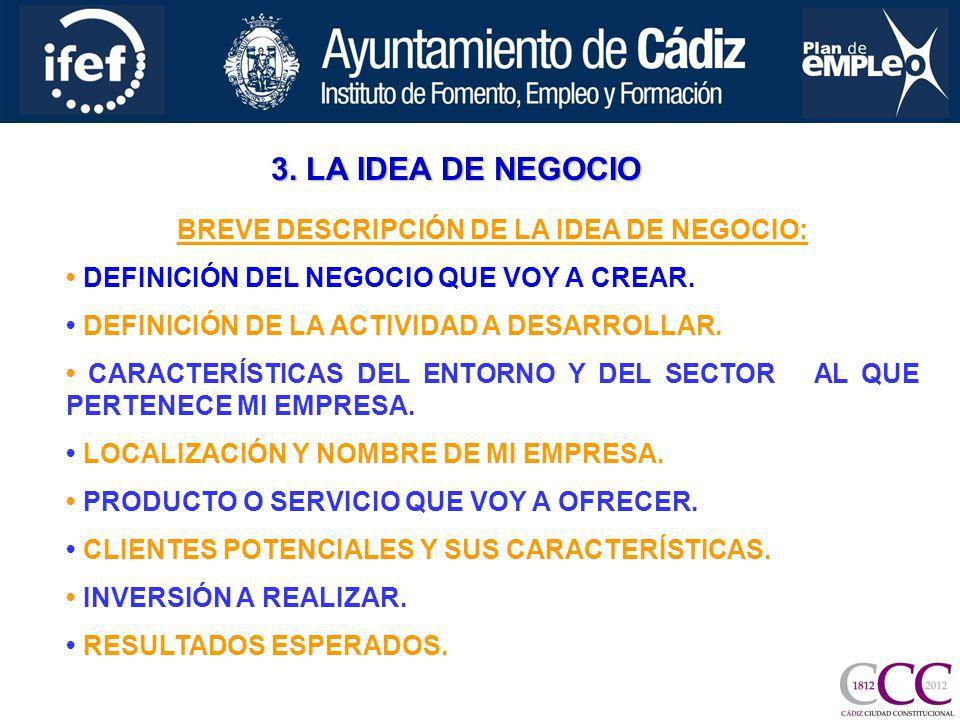 BREVE DESCRIPCIÓN DE LA IDEA DE NEGOCIO: