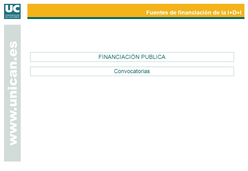 www.unican.es Fuentes de financiación de la I+D+I FINANCIACIÓN PUBLICA