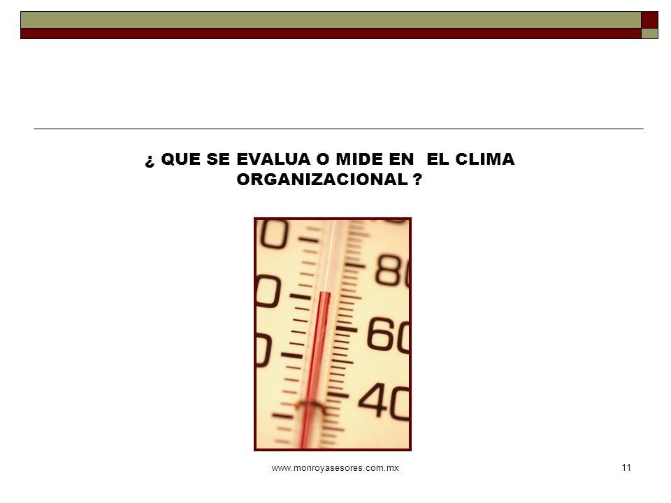 ¿ QUE SE EVALUA O MIDE EN EL CLIMA ORGANIZACIONAL