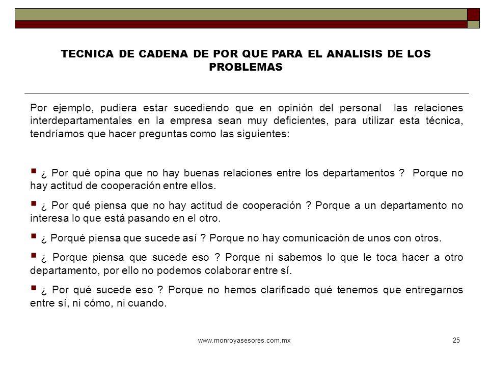 TECNICA DE CADENA DE POR QUE PARA EL ANALISIS DE LOS PROBLEMAS