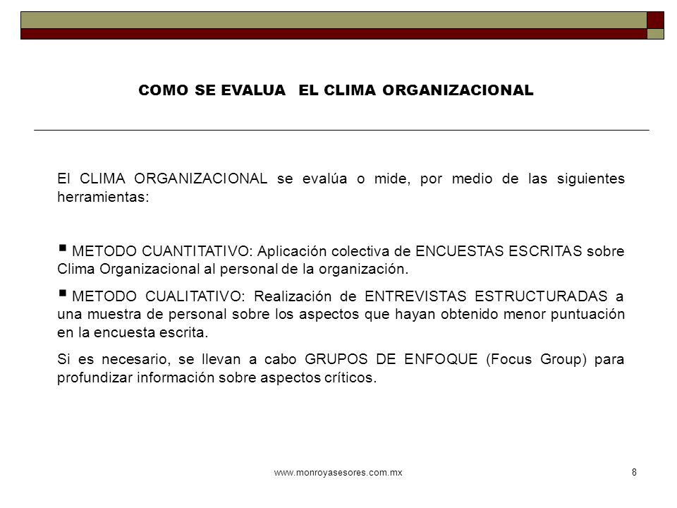 COMO SE EVALUA EL CLIMA ORGANIZACIONAL